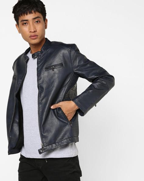 Slim Fit Biker Jacket By The Indian Garage Co ( Navy )
