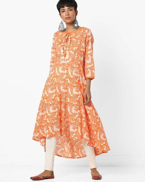 High-Low Printed Flared Kurta With Tie-Up By Biba ( Orange )