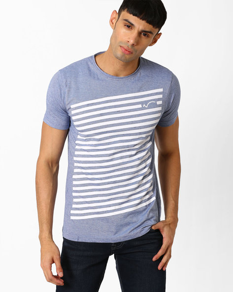 Graphic Print Cotton T-shirt By SIN ( Blue )