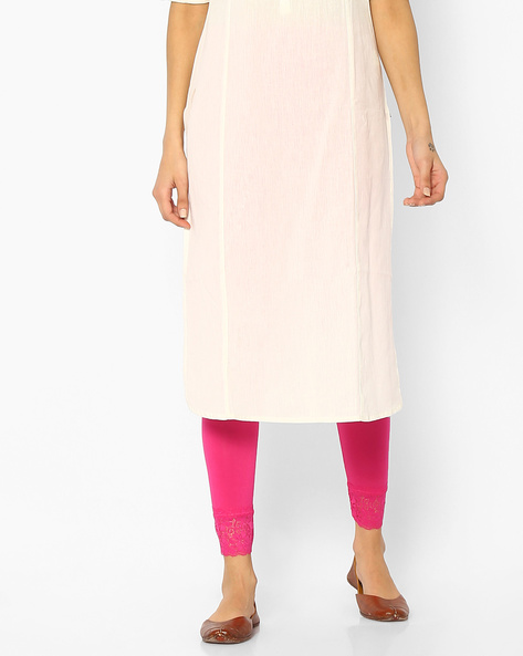 Ankle-Length Leggings With Lace Panel By Melange By Lifestyle ( Pink )