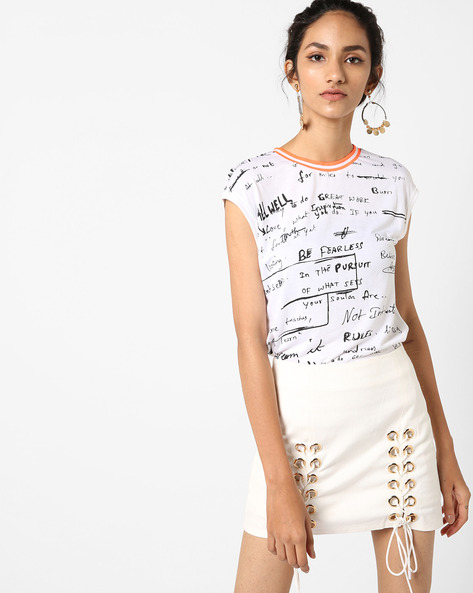 Doodle Print Top With Contrast Neckline By UNITED COLORS OF BENETTON ( White )
