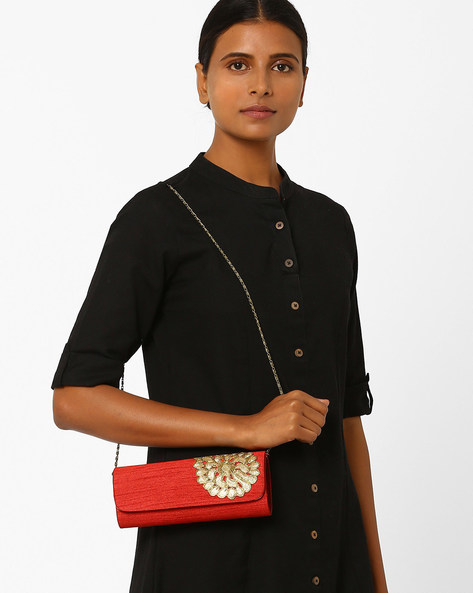 Ethnic Clutch With Embellishment By Tarusa ( Red )