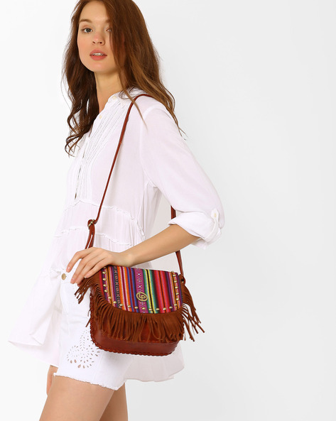 Sling Bag With Tassels By Lino Perros ( Brown )