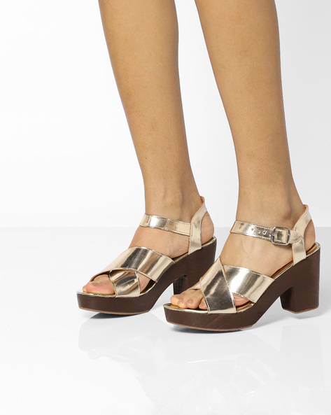 Metallic Chunky Heels With Criss-Cross Upper By AJIO ( Gold )