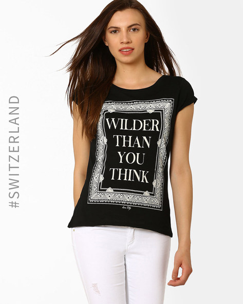 Printed Round Neck T-shirt By TALLY WEiJL ( Black )