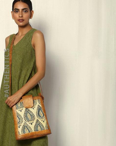 Handblock Print Kalamkari Vegan Leather Sling Bag By A BIG INDIAN STORY ( Tan )