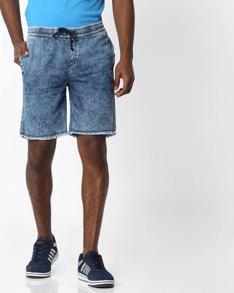 Slim Fit Washed Denim Shorts By SHELTR ( Indigo )