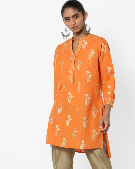Floral Print Kurta With High-Low Hemline By Biba ( Orange )