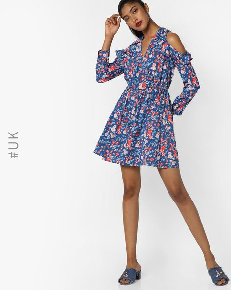 Floral Print Dress With Surplice Neckline By INFLUENCE ( Blue )