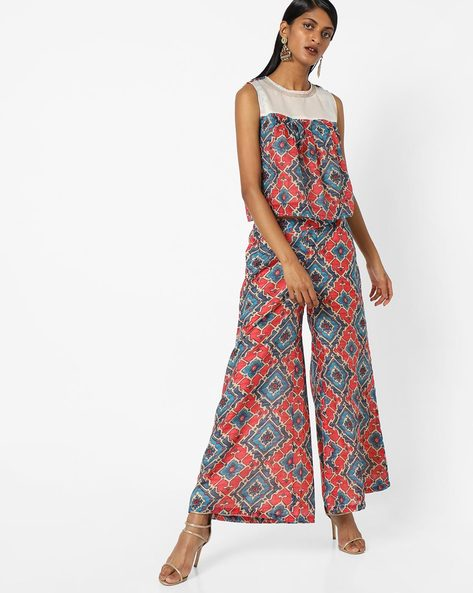 Geometric Print Top With Palazzos By AJIO ( Red )