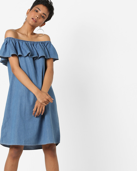 Off-Shoulder Shift Dress With Ruffles By AJIO ( Darkblue )