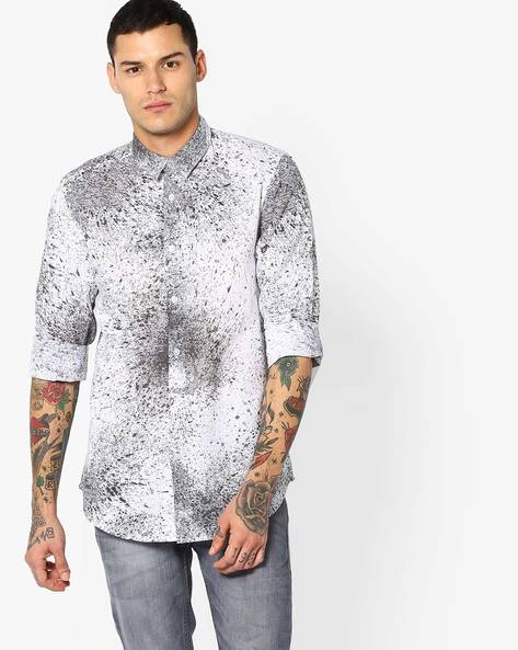Printed Slim Fit Cotton Shirt By Jack & Jones ( Black )