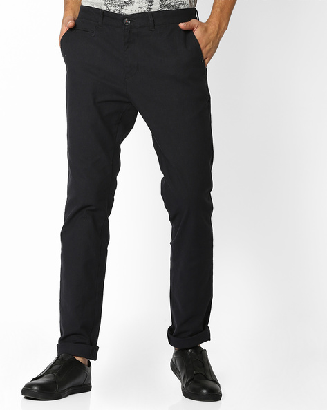 Tapered Fit Yarn-Dyed Dobby Chinos By NETPLAY ( Medgrey )