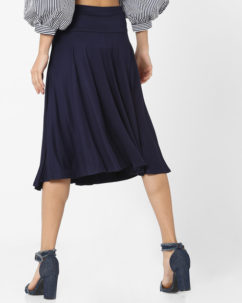 Pleated Skirt With Lace-Up Corset Waist By Femella ( Navy )