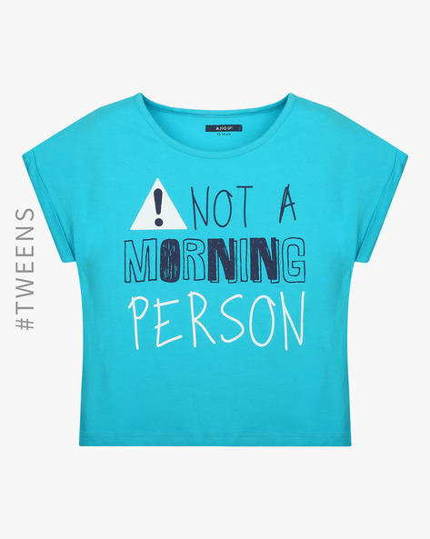 Printed Lounge T-shirt By AJIO ( Blue )