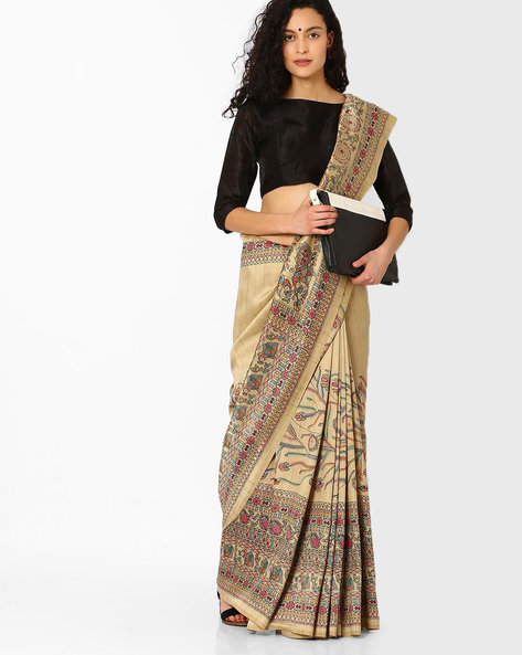 Printed Saree With Contrast Border By Pihu ( Pink ) - 460056189002