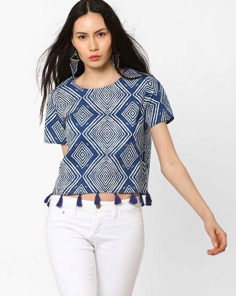 Boxy Crop Top With Tassel Detail By AJIO ( Indigo )