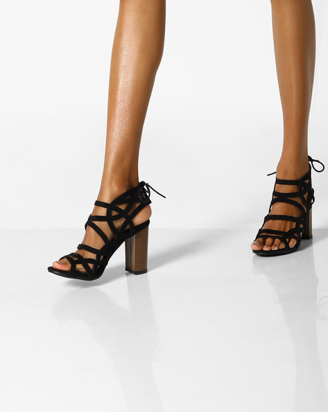 Laser-Cut Heeled Sandals With Tie-Ups By MFT Couture ( Black )
