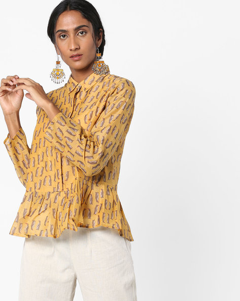 Printed Peplum Top With Button Placket By AJIO ( Yellow )
