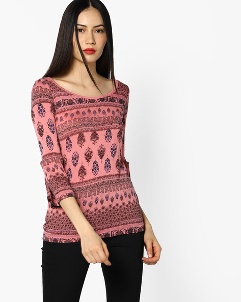 Printed Top With Bell Sleeves By CODE By Lifestyle ( Pink )