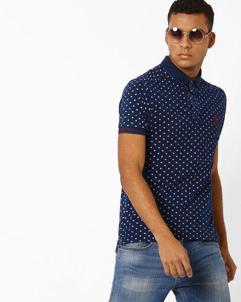 Printed Slim Fit Polo T-shirt By US POLO ( Indigo )