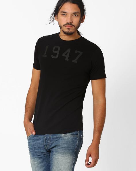 HD Print Cotton T-shirt By WRANGLER ( Black )