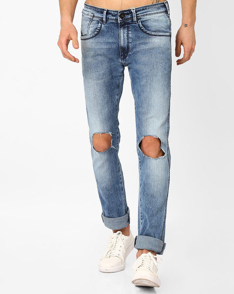 Heavy Wash Jeans With Ripped Knees By Pepe Jeans ( Indigo )