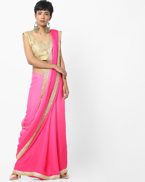 Saree With Embroidered Border By Majestic Silk ( Blue )