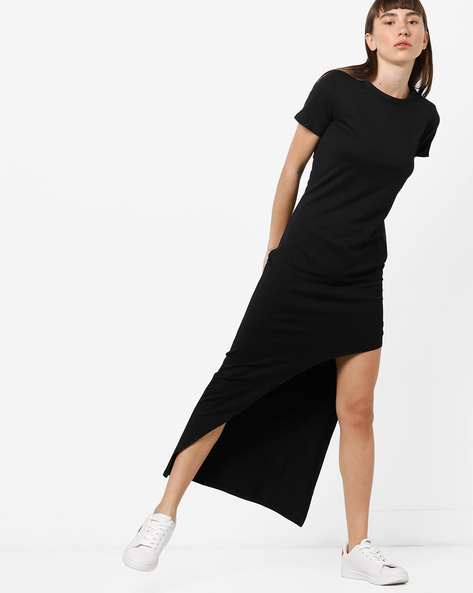 Asymmetrical Midi Dress With Printed Back By KULTPRIT ( Black )