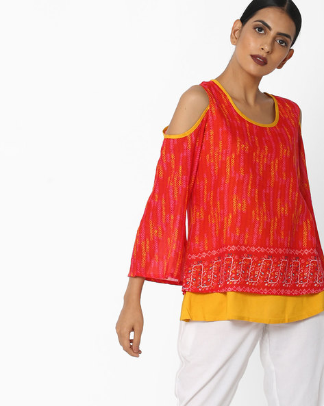 Printed Top With Cold-Shoulder Sleeves By AYAANY ( Red )