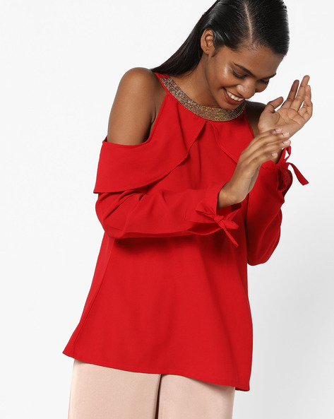 Cold-Shoulder Top With Tie-Ups By Sassafras ( Red )