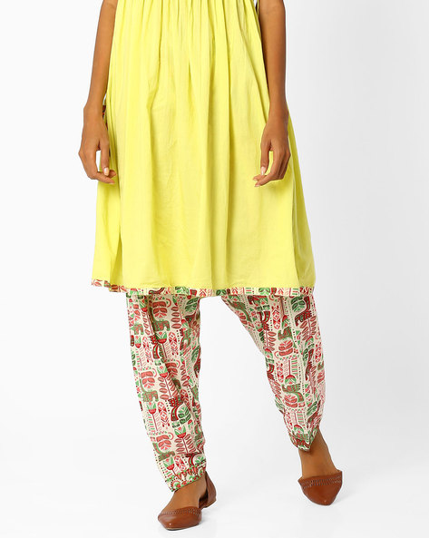 Patiala Pants With Drawstring Waist By AJIO ( Limegreen )
