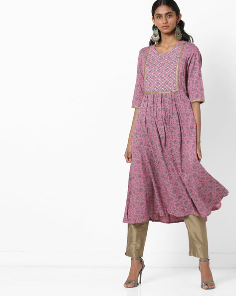 Floral Print A-line Kurta With Embroidery By AJIO ( Rose )