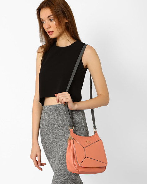 Textured Sling Bag With Panelled Flap By Lavie ( Peach )
