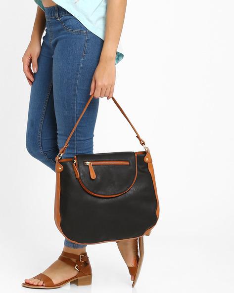 Hobo Tote Bag By AJIO ( Black )