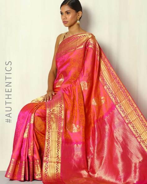 Handwoven Pure Silk Saree With Zari Border By BANASURI ( Multi )