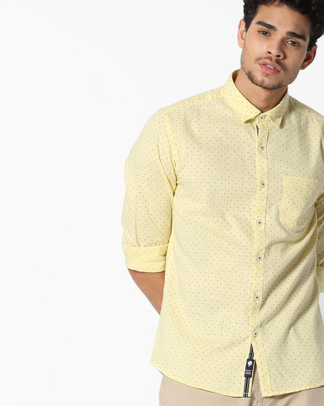 Printed Slim Fit Shirt By NETPLAY ( Yellow )