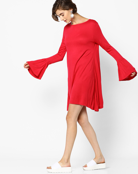 Tent Dress With Bell Sleeves By AJIO ( Red )