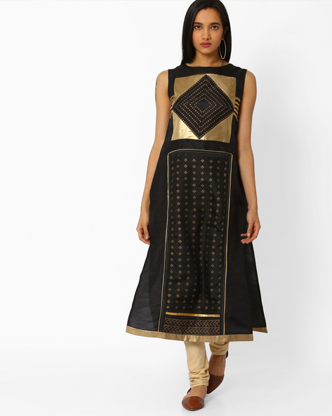 Straight Kurta With Printed Panel By W ( Black )