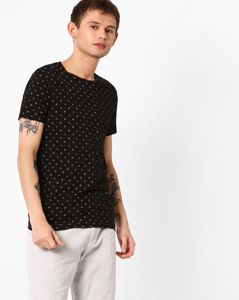 Printed Slim Fit T-shirt By ADAMO LONDON ( Black )