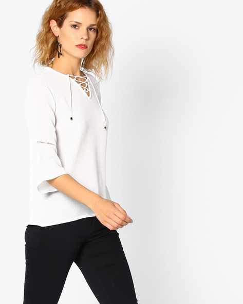 Lace-Up Top With Bell Sleeves By And ( White )