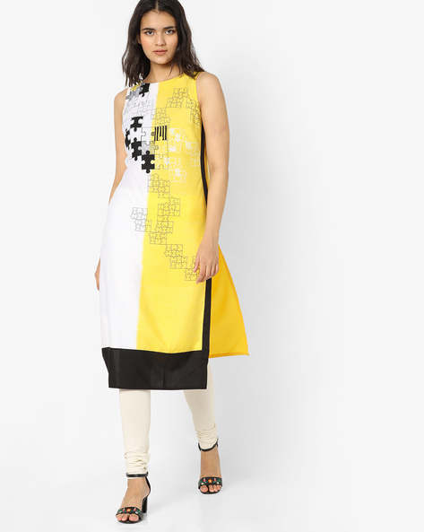 Printed Sleeveless Kurta By Rangmanch By Pantaloons ( Yellow )