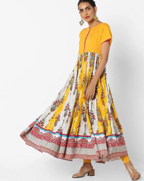 Printed Flared Kurta By Jiyaa ( Yellow ) - 460134099001