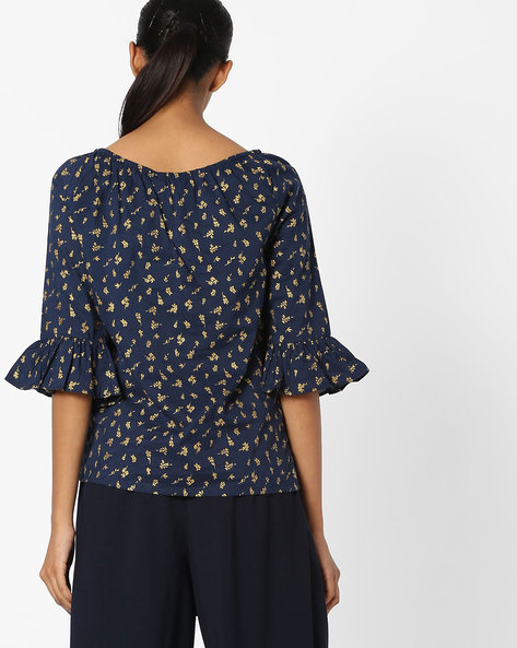 Floral Print Off-Shoulder Top By FIG ( Navy )