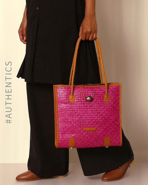 Handcrafted Natural Fibre Hand Bag By Indie Picks ( Pink )