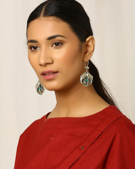 Handcrafted Afghan Tribal Drop-Earrings By Indie Picks ( Metallic )