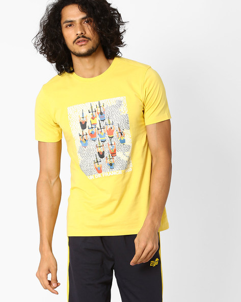 Printed Crew-Neck T-shirt By 2Go ( Yellow )