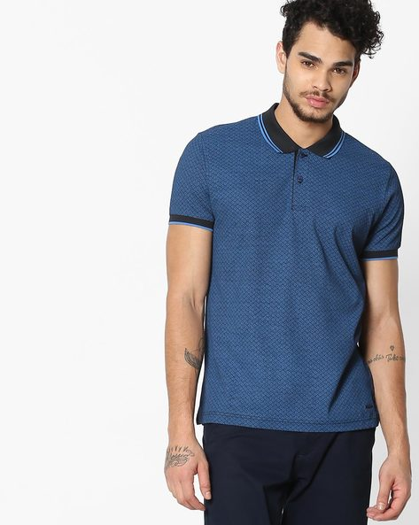 Geometric Print Polo T-shirt By FLYING MACHINE ( Assorted )