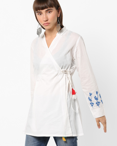 Overlap Tunic With Floral Embroidered Sleeve By AJIO ( White )