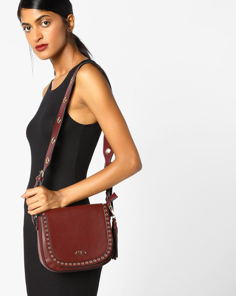 Sling Bag With Metal Eyelets By E2O ( Maroon )